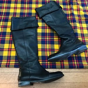 Aldo Magri Black Leather Fold Over Tall Boots